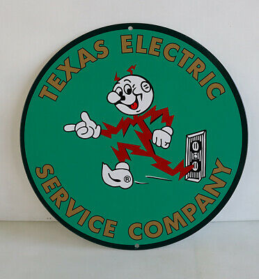 """12"""" TEXAS ELECTRIC With Reddy Man Round Sign   power light   retro"""
