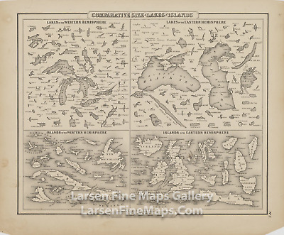 1857 Rare Map, Comparative Size of Lakes and Islands
