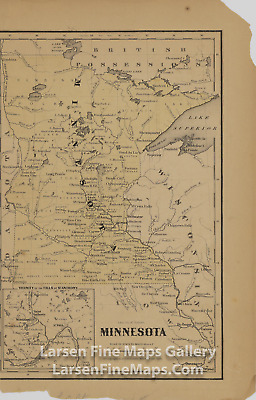 1855 Rare Map, Minnesota; Vicinity of the Falls of St. Anthony