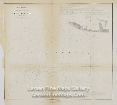 1853 Rare Map, Preliminary Chart of Ship Island Shoal Louisiana