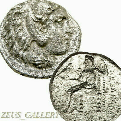 ALEXANDER the Great Ancient Greek Silver Tetradrachm Coin Herakles Zeus 323 BC