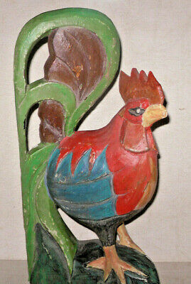"VTG Folk Art Carved Painted Wooden Rooster 12""+ Statue Figure Rustic Farmhouse"