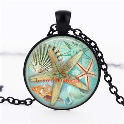 Starfish Art Necklace photo Glass Dome Chain Pendant Necklace wholesale jewelry