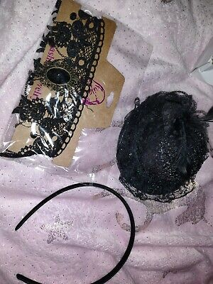 Black Hair Fascinator Feather And Lace Headband Matching Necklace