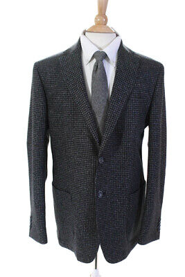 Bugatchi Mens Long Sleeve Two Button Houndstooth Jacket Blazer Wool Size 44