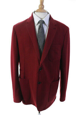 Bugatchi Mens Long Sleeve Two Button Solid Print Jacket Blazer Red Size 46