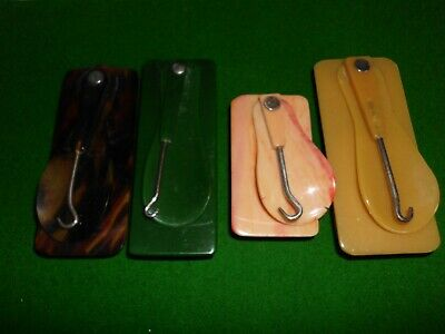 Collection Of Folding Shoe Horn Button Hook & Chamois Early Lucite Sets (4)