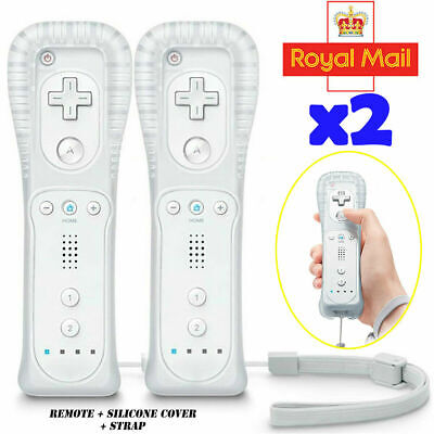 2 x WHITE NEW REMOTE CONTROLLER AND FOR NINTENDO WII U + SILICONE + STRAP UK