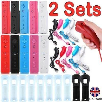 2* REMOTE CONTROLLER and NUNCHUCK FOR NINTENDO WII & WII U + SILICONE + STRAP UK