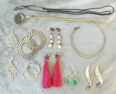 Selection of costume jewellery,8 pairs of earrings and 2 necklaces