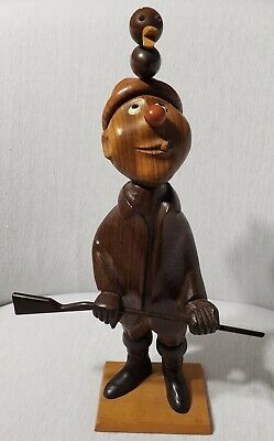 """Vintage Wood Carved Duck Hunter Figurine Statue Romer Made In Italy Duck Gun 13"""""""