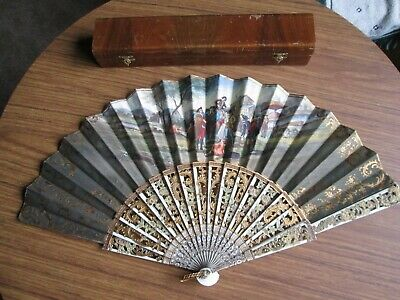 Beautiful Antique Victorian Hand Painted Carved Bone Sticks Hand Fan