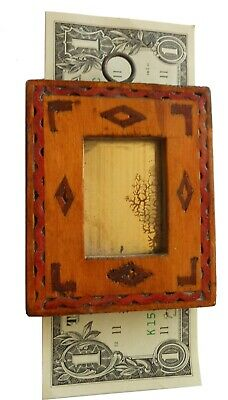 AAFA Early 1900s Tiny Antique Folk Art Hand Carved Wood Inlaid Mirror