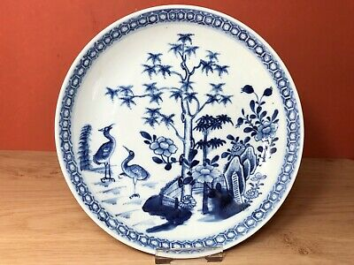 Nice 18th C Chinese blue and white porcelain deep plate, cranes! Qianlong period