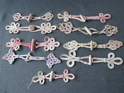 9 Vintage silky passementerie frog closures buttons lot for parts or repair