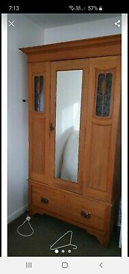 Antique Mirrored Door Wardrobe with Drawer.