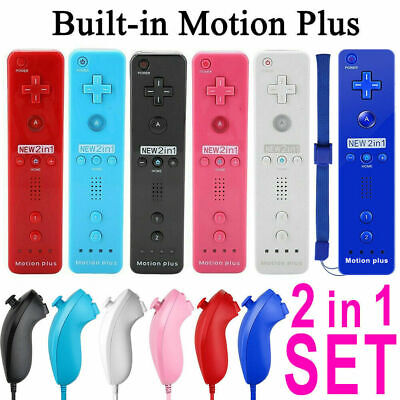 2in1 Built in Motion Plus Remote Nunchuck Controller for Nintendo Wii / Wii U