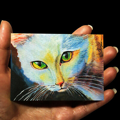 original miniature painting ACEO art picture animals watercolor drawing cat