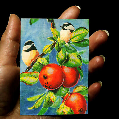 original miniature painting ACEO art picture signed watercolor animals BIRDS