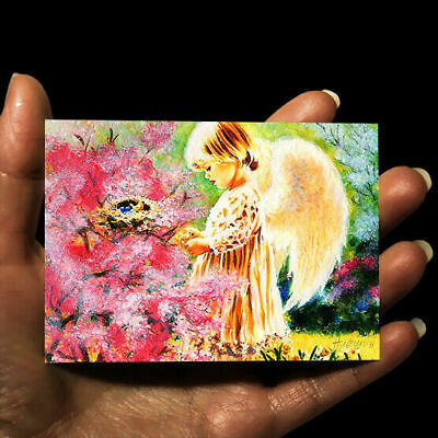 original miniature children painting ACEO art picture watercolor drawing GIRL
