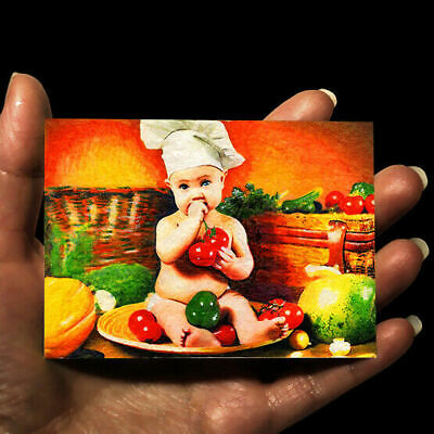 original miniature children painting ACEO art picture watercolor drawing CHILD