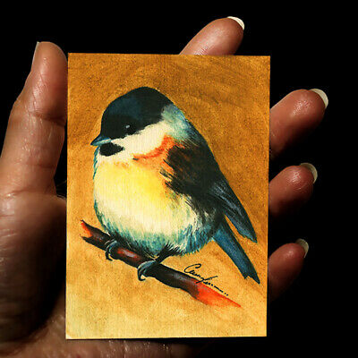 original miniature painting ACEO art picture signed watercolor animals BLUE BIRD