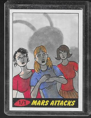 Mars Attacks 2012 COLOR Sketch card one of a kind Adam Talley IDIOTHEAD
