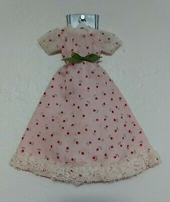 Vintage Barbie Doll clothes dress gown pink red chintz floral classy lace bow 👗
