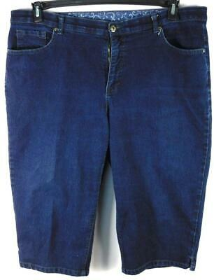 Faded glory blue denim embroidered pockets women's plus size capri jeans 22W