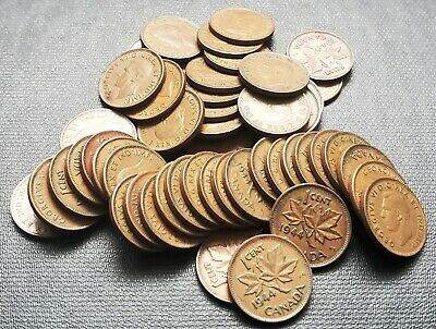 Lot of 50x 1944 Canada 1 Cent Coins - King George VI Pennies