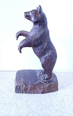 carved ironwood BEAR FIGURE 13 INCHES TALL