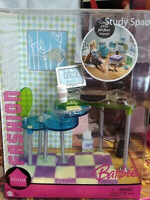 2005 Barbie Doll Fashion Fever Study Space Office Room Computer Desk Furniture