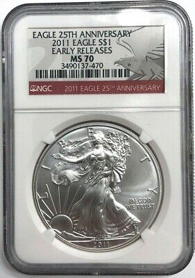 2011 American Silver Eagle Red Label Ngc Ms 70 Perfect Condition No Spots