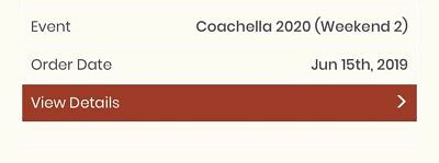 Coachella 2020 Weekend 2 Tickets - GA 3 Day Wristband  *ORDER CONFIRMED*