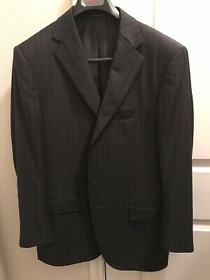Ermenegildo Zegna Trofeo Fabric Two Piece Suit In Gray With Red Pinstripe 44R