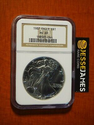 1987 $1 American Silver Eagle Ngc Ms69 Classic Brown Label