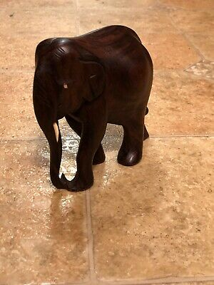 Vintage Hand Carved Wood Black Ebony Elephant Trunk Down Curled Figurine Tusks