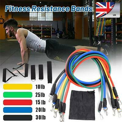 Resistance Bands Workout Exercise Yoga 11Pcs Crossfit Fitness Training Tubes UK