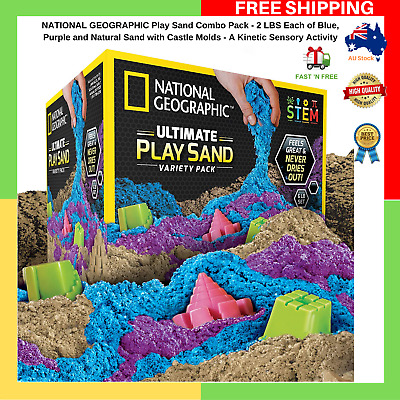 National Geographic Play Sand Combo Pack Castle Mold 2 LBS Each Blue Purple Sand
