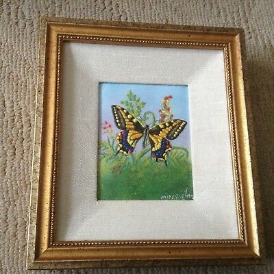 Listed SIGNED DOM MINGOLLA ENAMEL COPPER ART Rare Old Painting Monarch Butterfly