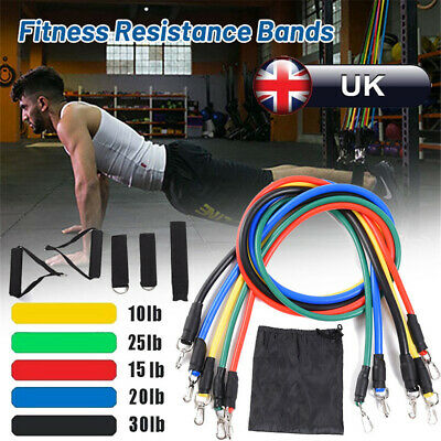 11Pcs Resistance Bands Workout Exercise Yoga Crossfit Fitness Training Tube Set