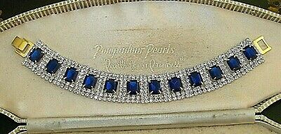 Gorgeous Jewellery Sapphire & Clear Rhinestone Art Deco Gold Cocktail Bracelet