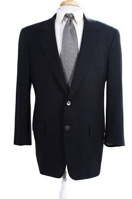 Corneliani Mens Two Button Notched Lapel Blazer Navy Blue Wool Size IT 50