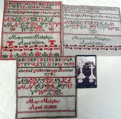 Antique Samplers Alphabet -Sisters 1884-86 Aged 10Yrs & 11Yrs With CDV Of Graves