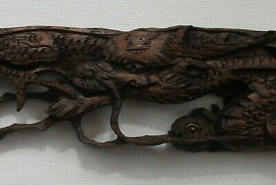 Oriental Chinese Dragon Wooden Carving 18Th - 19Th Century