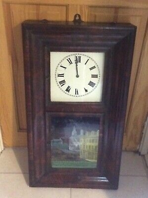 Antique American 8 Day Wall Clock ByJerome & Co For Restoration