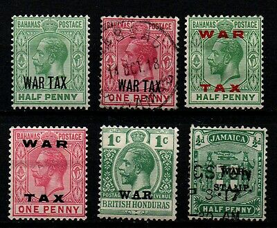 """Bahamas, Br. Honduras & Jamaica selection of 6 """"WAR TAX"""" stamps mint & used."""
