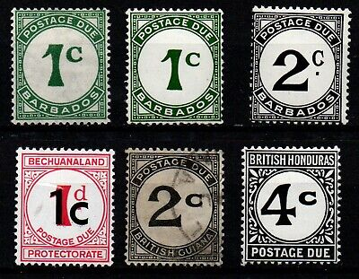 Barbados, Bechuanaland, British Guiana & Honduras postage due stamps mint & used