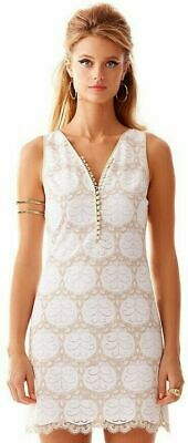 Lilly Pulitzer Nadine Resort White Lilly Pad Lace Gold Shift Dress 2 NWOT