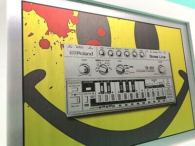 """A3 Framed Roland TB - 303 Bass Line Mono RAVE Synth print on Metal 14"""" x 18"""" NEW"""
